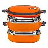 Lunchbox, Yosoo Tragbare Frischhaltebox Lebensmittelbehälter aus Edelstahl mit Griff für Essen, Aufbewahrungsbox für Lebensmittel (2 Etage, Orange)