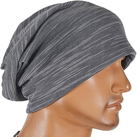 Men Striped Slouchy Thin Beanie Cap B011h-K (Grey)