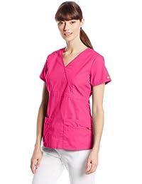 Dickies- Top cruzado de traje médico para mujer con ajuste junior.
