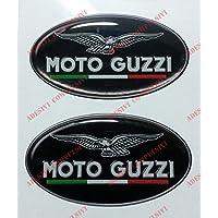 Wappen Logo Decal Moto Guzzi, mit Flagge italien, Paar Aufkleber harzbeschichtet, Effekt 3d. Für Benzintank oder Helm