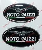 Stemma logo decal MOTO GUZZI, con bandiera Italia, coppia adesivi resinati, effetto 3D. Per SERBATOIO o CASCO