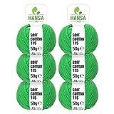 HANSA-FARM 100% Lana Cotone in 12 Colori - 300 Grammi Set (6 x 50g) - Öko Tex 100 certificata - Filo Cotone per Maglieria e Uncinetto by Gomitoli Lana Verde