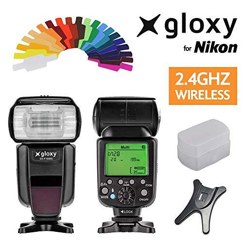 Gloxy GX-F1000 HSS Auto FP 1/8000s i-TTL Flash compatible avec Nikon D3400, D3200, D3300, D7100, D5100, D5200, D5300, D500, D7000, D800, D90, D600