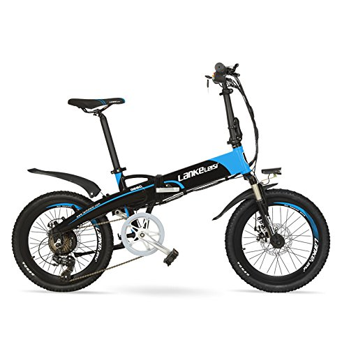 "LANKELEISI G660 48V10Ah High Power Hidden Battery 20""Folding Electric Mountain Bike, Aluminum Alloy Frame, Suspension Fork (Black Blue, Standard)"