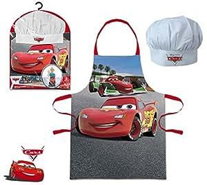 Réf353 LIC.27 - Coffret Petit Cuisinier Disney Cars - Tablier + Toque - Cadeau Noël Enfant 3 à 8 Ans