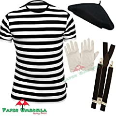 Idea Regalo - Mens FRENCH MIME fancy dress 4 PIECE SET (Men: 36/38) by PAPER UMBRELLA