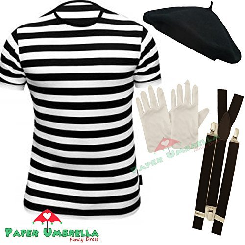 Mens FRENCH MIME fancy dress 4 PIECE SET (Men: 36/38) by PAPER UMBRELLA