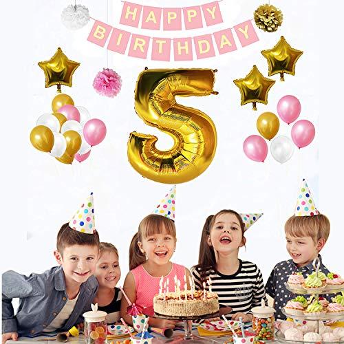 5 geburtstag dekoration set (32 Pcs )- Glücklich Geburtstag Banner erstellen Mit Ballons, Pom Pom, Gold, Weiß & Rosa ,3 Strohhalme (Aufblasen) - Party Hängende Dekorationen Bulk Supplies
