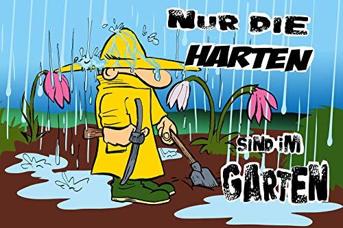 Schatzmix Spruch Nur die Harten sind im Garten Metallschild 20x30 tin Sign Blechschild, Blech, Mehrfarbig, 20x30 cm