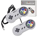 iNNEXT® 2x USB para Super SNES Mando de juegos para PC Windows Mac Raspberry Pi NES/SNES Emulator
