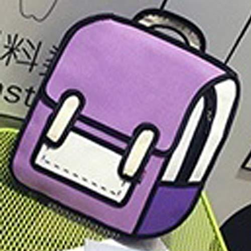 Explopur Mehrfarbig Optional 3D Jump Style 2D-Zeichnung von Cartoon-Typ Umhängetasche Comic-Rucksack Bookbag Helle Kollisionsfarbe