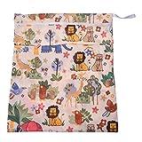 SODIAL (R) Sacchetto pannolini bambino lavabile disposizione stoccaggio (modello animale Elefante Leone Beige )