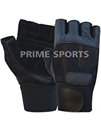 Prime Weight Lifting Gloves Leather Full Padded High Quality Long Wrist Wrap Power Lifting PADDED Palm Exercise Fitness Strengthen Home Gym Black-104