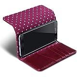 Galaxy S7 Edge Housse, Terrapin Étui Housse Portefeuille avec Polka Dot Intérieur pour Samsung Galaxy S7 Edge Coque Cuir - Rouge