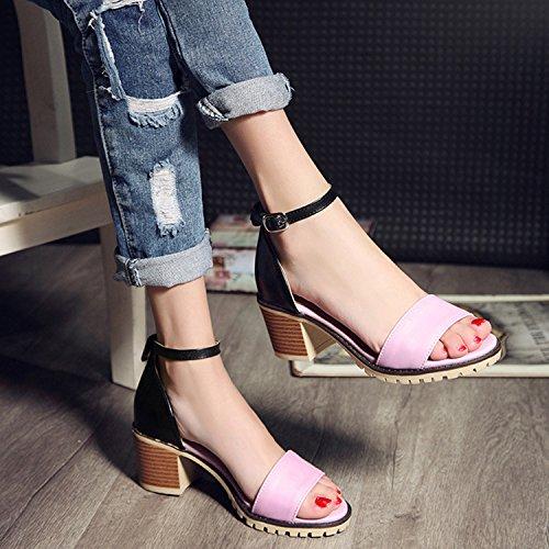 Oasap Women's Open Toe Ankle Buckle strap Square Heels Sandals Beige