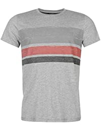 Pierre Cardin Mens 100% Cotton Crew Neck Short Sleeves Regular Fit Slub T Shirt With Stripe Print - Multicoloured - Medium - 3X-Large Sizes Available
