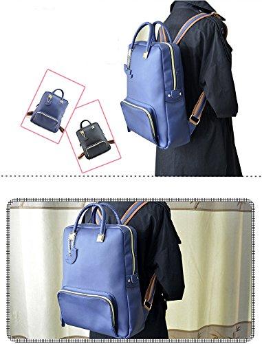 Minetom Damen Schulrucksack Dame Stil PU Einfarbig Schulranzen Schultasche Rucksack Freizeitrucksack Daypacks Backpack Blau