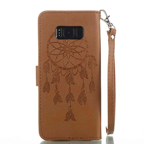 Galaxy S8 Portable Coque,Housse Etui en PU Cuir pour Samsung Galaxy S8,Ekakashop Retro Motif de Rose Fleur Papillon Ultra Slim-fit Coque de Protection Folio Bookstyle Rabat Shell Couvercle Magnétique  Dreamcatcher Brun