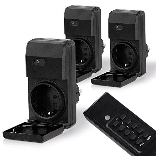 MANAX MX-RCS250 Funksteckdosen-System Starterset komplett, 4-Kanal (3x Funksteckdose, 1x Fernbedienung), Außenbereich, spritzwassergeschützt, IP44, schwarz