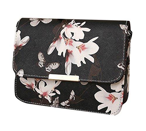 Minetom Damen Maedchen Floral Schmetterling Steppmuster Muster Mini PU Leder Handtasche Schultertaschen Messenger Purse UmhäNgetasche Schwarz One (Pioneer Muster Kleid)