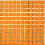 Mosaik Fliese Keramik orange glänzend für WAND BAD WC DUSCHE KÜCHE FLIESENSPIEGEL THEKENVERKLEIDUNG BADEWANNENVERKLEIDUNG Mosaikmatte Mosaikplatte 1 Matte