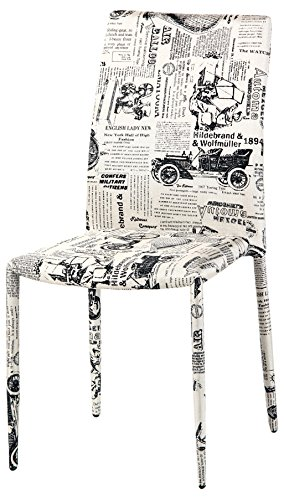 Cribel sedia, rivestimento in tessuto, motivo grafico new york, 4 pezzi