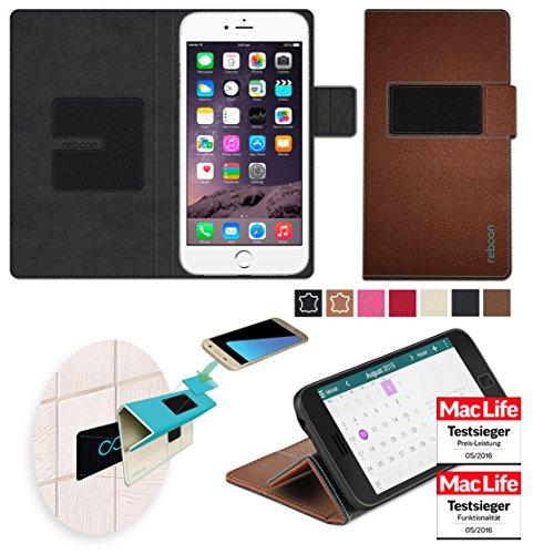 Étui pour Apple iPhone 6 Plus de couleur Beige - Boîtier innovateur 4 en 1 Coque Smart Cover Case - Support mural anti-gravité, porte-smartphone de voiture, support de table - Boîtier de protection mu Cuir Marron