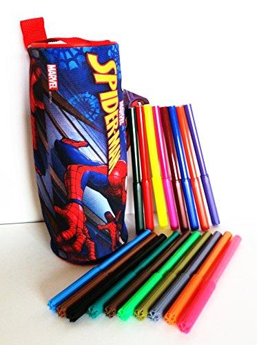 Estuche cilindrico escolar SPIDER-MAN (Marvel) 100% polyester, cremallera de metal (20 x 8 x 8 cms) + 18 rotuladores…