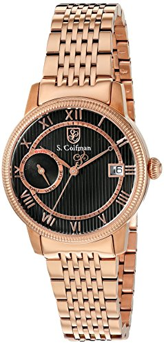 S.Coifman Women's Quartz Watch with Black Dial Analogue Display and Rose Gold Stainless Steel Plated Bracelet SC0339