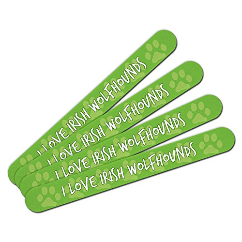Double-Sided Nail File Emery Board Set I Love Heart Dogs D-M - Irish Wolfhounds by Graphics and More