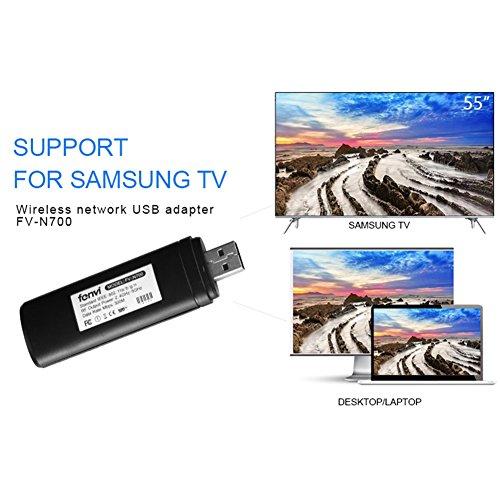Adaptador Velidy Wi-Fi inalámbrico USB para televisión, 802.11ac de doble banda 2,4GHz y 5GHz, adaptador USB de red WiFi inalámbrico para smart TV Samsung WIS12ABGNX WIS09ABGN 300M