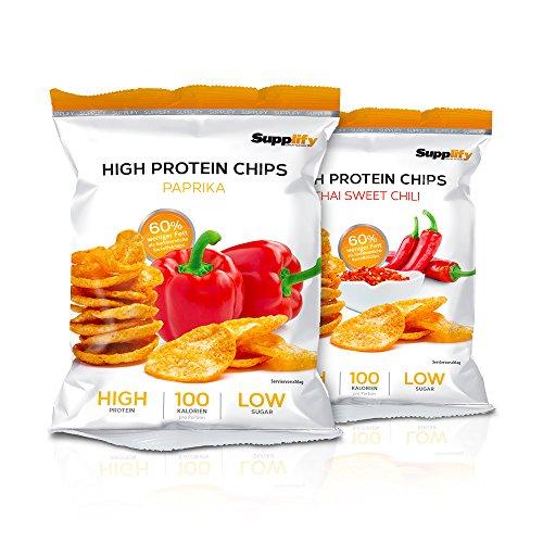 Protein Chips – Eiweiß Fitness Snack Mix Box 6x50g Von Supplify – Whey Proteinpulver und Protein Riegel Ersatz in 3 Geschmäckern – ideal zum Abnehmen oder als Muskelaufbau - Bars Protein Weight Gainer