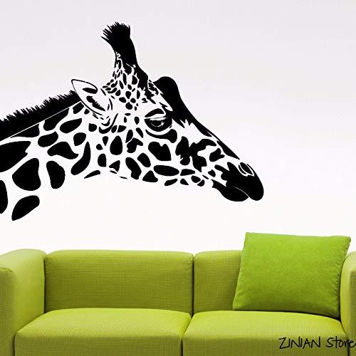 Giraffe Kopf Wandaufkleber Tier Vinyl Aufkleber Wohnzimmer Dekor Wanddekoration Wasserdichte Wand Tattoo Wandhauptdekor schwarz 56x73 cm - Tattoo-fußmatte