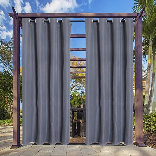 Clothink Outdoor Vorhang - B:132xH:215cm Grau - mit Ösen - Winddicht Wasserabweisend Sichtschutz Sonnenschutz