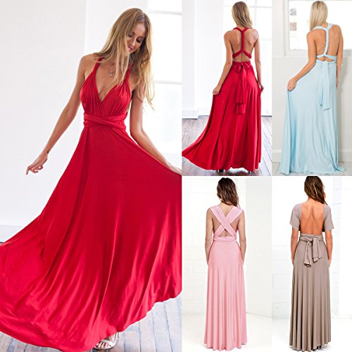 Womens Bridesmaid Elegant Convertible Transformer Infinity Multi Way Wrap Solid Color Cocktail Dress Off Shoulder V Neck Bandage Long Maxi Dress