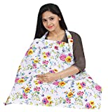 #10: Nursing Cover With Best Coverage- Breathable Cotton Breastfeeding Apron – Multi Flower Design - Baby Feeding Cover