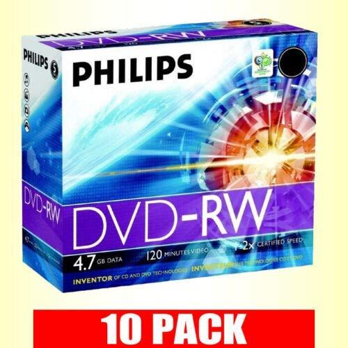 Philips DVD-RW da 4,7 GB, velocità 2 x 120 min, riscrivibili, con custodia