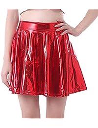 BaZhaHei Gonna da Ballo Donna in Pelle Elegante Mini A-Line Gonna a Pieghe  Donna 502952a0773