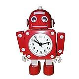 Pingenaneer Kinder Wecker Stille Analog Quarzwecker, Metall Roboter-Design wecker, Lauter Alarm, Ohne Ticken, Schlummerfunktion, Batteriebetrieben - Rot