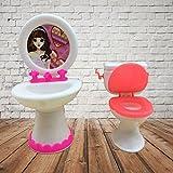 Ocama poupée Accessoires exquis Plastique Lavabo et WC pour maison de poupée Couleur aléatoire
