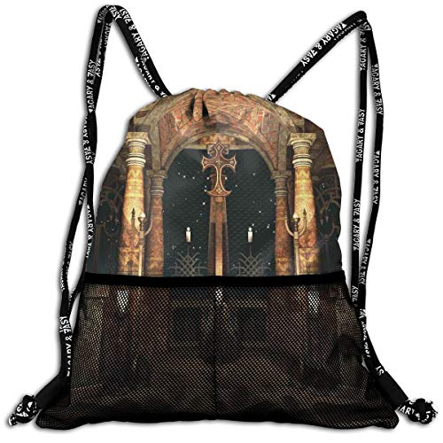 RAINNY Drawstring Backpacks Bags,Dark Mystic Ancient Hall with Pillars and Dome Shrine Building Illustration,5 Liter Capacity,Adjustable -
