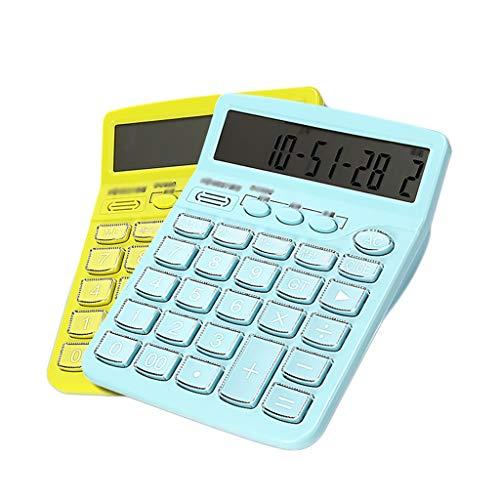 Wissenschaftliche Taschenrechner 2er-Set Wecker Erinnerung Zeitanzeige-Rechner 12-Bit-Sprach-Großtastenrechner Großbild-Bürorechner (Color : Light Blue+Yellow)