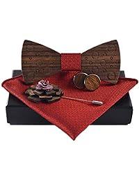 Papillon in legno + Sciarpa quadrata + Gemelli + Spilla, Disegni unici Papillon in legno ibrido Regolabile Papillon in cotone per uomini Accessori per abiti, Set quattro pezzi