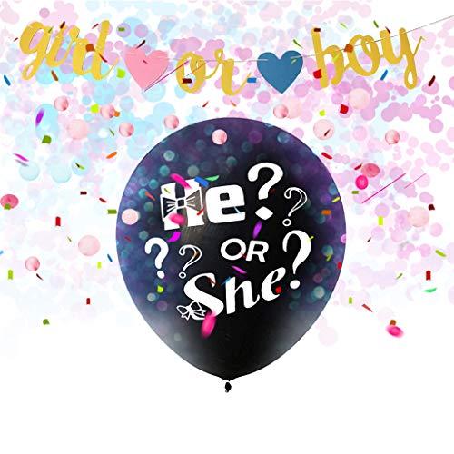 Amycute Baby Shower Party Dekorationen, Geschlecht offenbaren Dekorationen mit He or She Banner Luftballons Schwarzer Ballon Rosa Blaue Konfetti Spiralen Tischdecke Foto Requisiten.