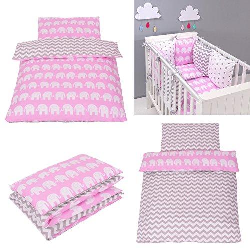 Parure de lit bébé avec DESIGN REVERSIBLE - ZigZag Eléphants Rose 100x135 Cm