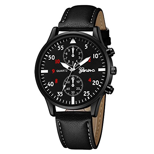 Armbanduhr Men Liusdh Uhren Geneva Fashion Herren Leder Military Alloy Quarz Business uhr(F,Einheitsgröße)