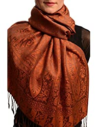Dots On Terracotta & Brown Pashmina Feel With Tassels - Brown Pashmina Floral Scarf