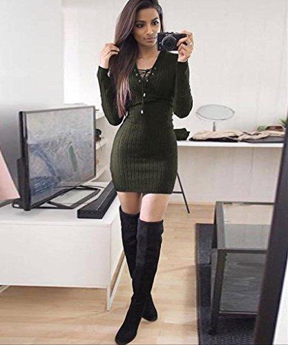 Manadlian Sexy Mini Robe Pull Femme Manches Longues à Col V armée verte