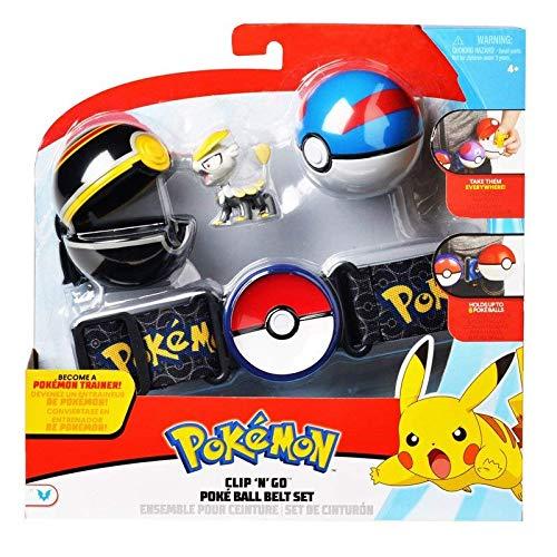 Lively Moments Pokemon Gürtel für Kinder mit Pokebällen & Figur Miniras / Jangmo-o Kindergürtel für Pokebälle / Spielzeug Gürtel (Pokemon Pokeball Mit Pokemon)