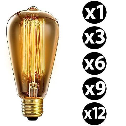 Trellonics longue durée de qualité premium Edison Ampoule 40W en forme de cage d'écureuil Filament Standard lamps–Disponible en packs de 1,3,6,9et 12, E27 40.00 wattsW 220.00 voltsV